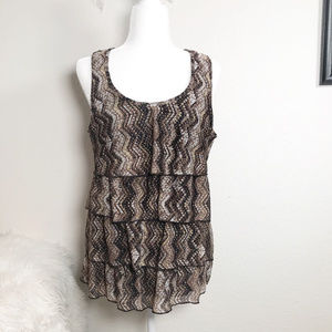 Notations Size L ruffled tank top fully lined